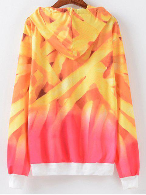 buy Letter Print Ombre Hoodie - YELLOW AND RED S Mobile