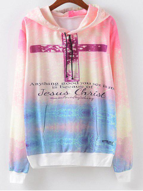 women Front Pocket Crucifix Print Hoodie - LIGHT PURPLE L Mobile