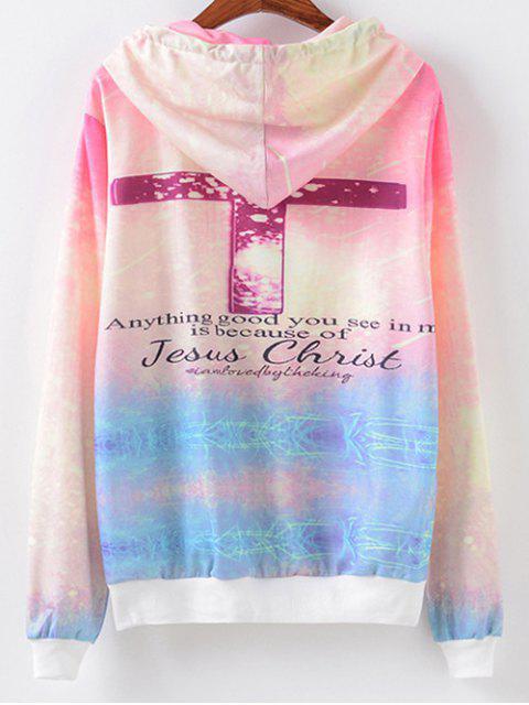 women Front Pocket Crucifix Print Hoodie - LIGHT PURPLE L Mobile