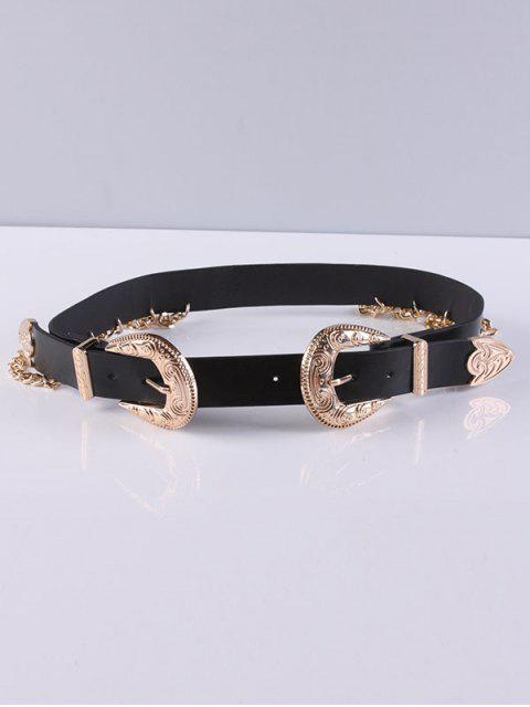 Chain Double Buckles Belt Tassel - Noir  Mobile