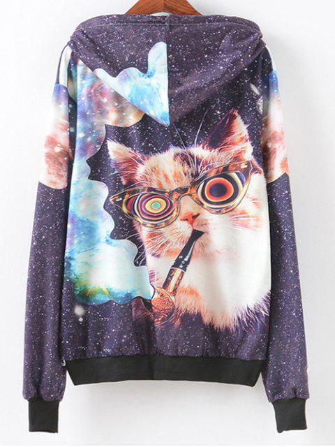 Poche avant smocks Cat Print Hoodie - Multicolore M Mobile