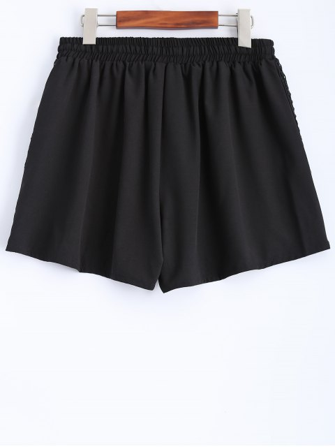 new Black Lace Spliced Mid-Waist String Shorts - BLACK S Mobile