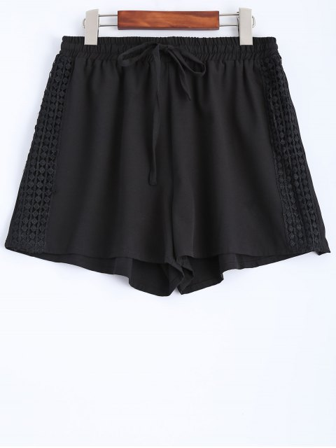 best Black Lace Spliced Mid-Waist String Shorts - BLACK L Mobile