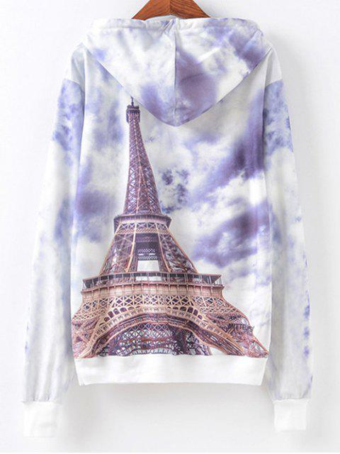 sale Front Pocket  Eiffel Tower Print Hoodie - COLORMIX S Mobile