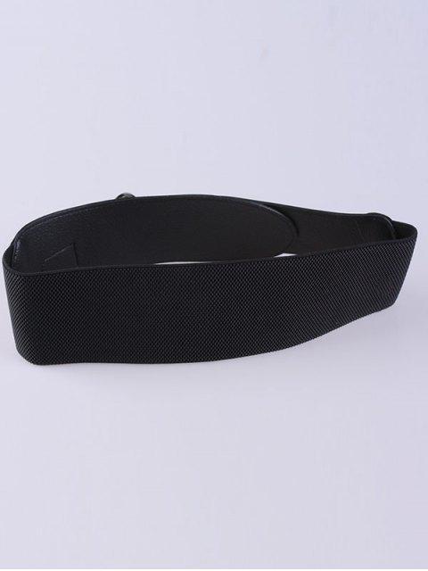 sale Hollow Hoop Pin Buckle Elastic Belt - BLACK  Mobile