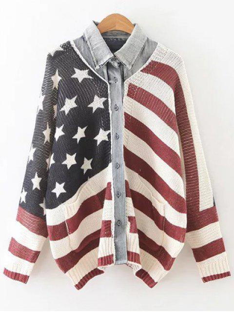 Cardigan imprimé drapeau américain manches chauve-souris - Multicolore TAILLE MOYENNE Mobile
