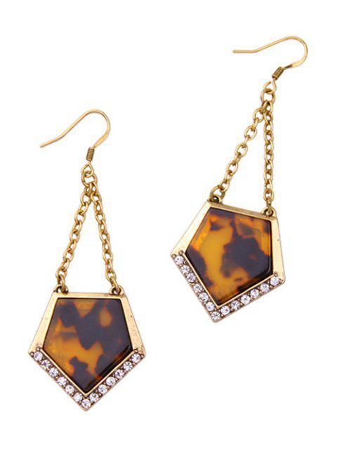 latest Vintage Resin Rhinestone Geometric Earrings - GOLDEN  Mobile