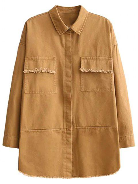 outfit Flap Pockets Embroidered Overshirt - YELLOW M Mobile