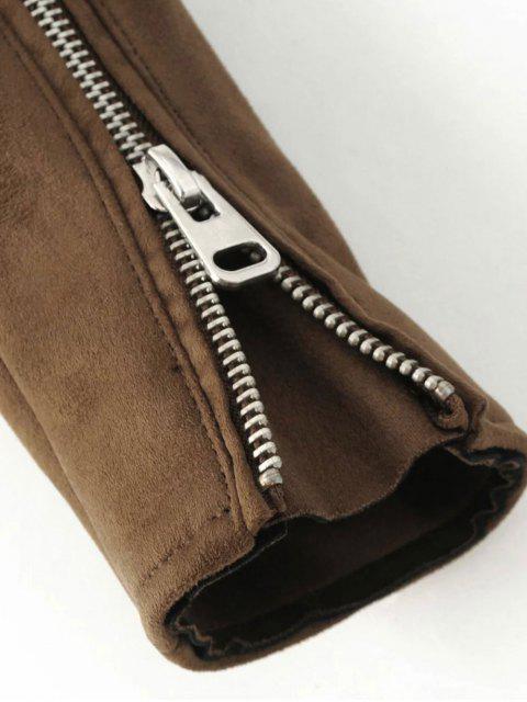 chic Lapel Zipper Pockets Suede Jacket - KHAKI S Mobile