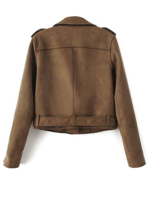 fancy Lapel Zipper Pockets Suede Jacket - KHAKI XS Mobile