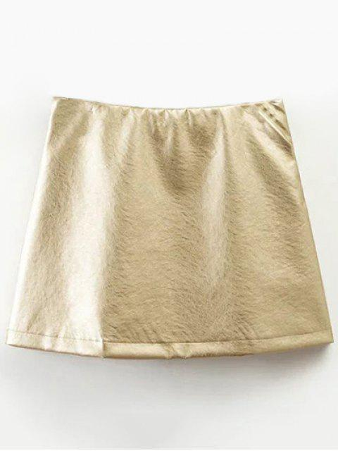ladies Mini Metallic Color Skirt - CHAMPAGNE L Mobile