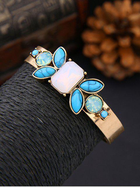 fashion Faux Gem Turquoise Geometric Bracelet - GOLDEN  Mobile
