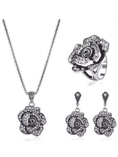 Conjunto de joyas diamantes de imitación floral - Plata  Mobile