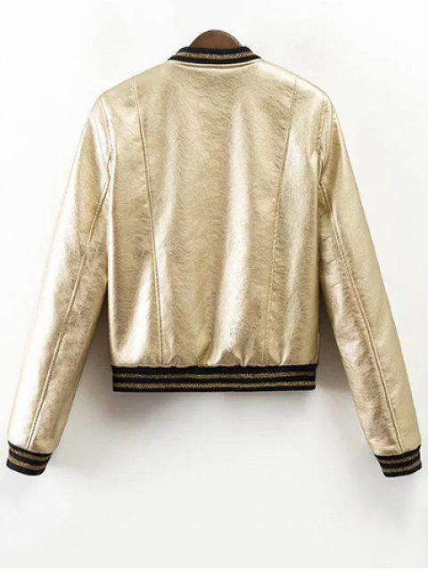 latest Metallic Color Bomber Jacket - CHAMPAGNE XL Mobile