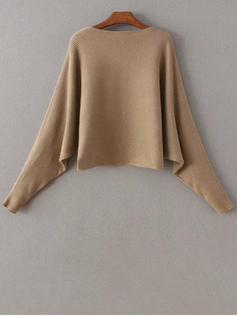 shop Batwing Sleeve Boat Neck Sweater - KHAKI ONE SIZE Mobile