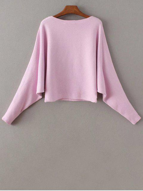 latest Batwing Sleeve Boat Neck Sweater - PINK ONE SIZE Mobile