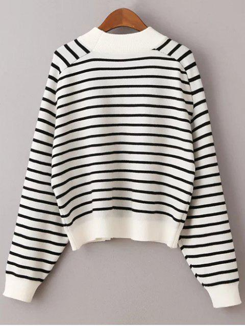 chic Striped Raglan Sleeve Sweater - WHITE ONE SIZE Mobile
