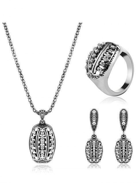 Diamantes de imitación conjunto de joyería geométrica - Plata  Mobile