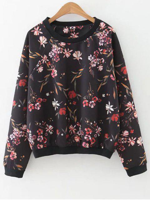 outfit Floral Print Crew Neck Sweatshirt - BLACK M Mobile