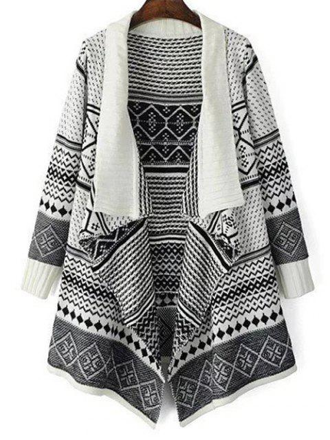 fancy Jacquard Knit Draped Front Cardigan - WHITE ONE SIZE Mobile