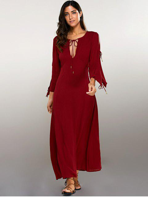 online Split Sleeve Lacing Maxi Dress - RED S Mobile