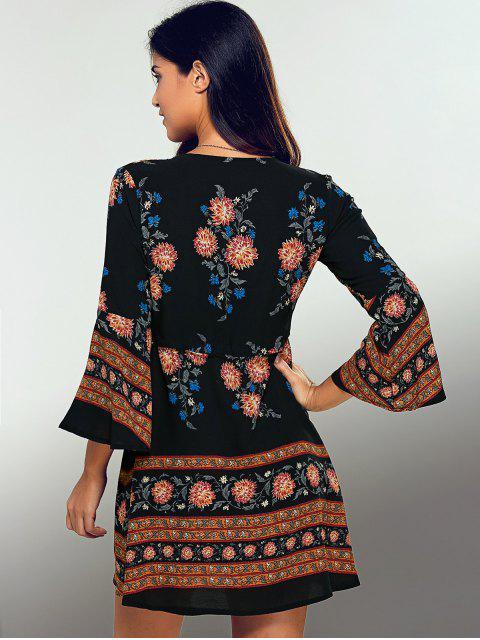 best Printed Drawstring Plunging Neck Dress - BLACK L Mobile