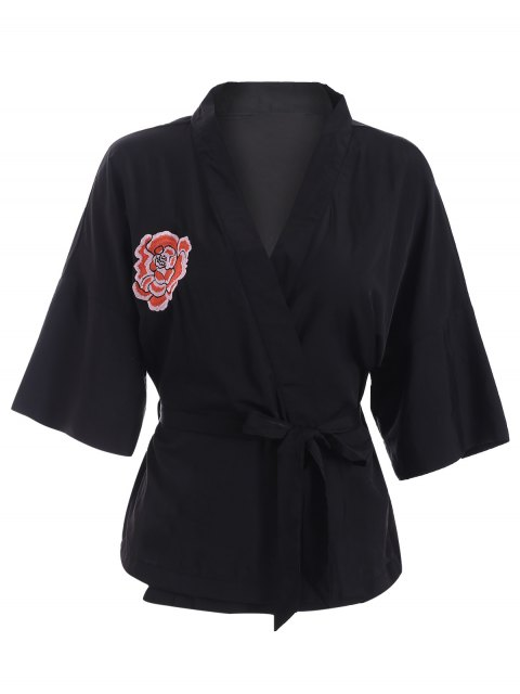 hot Embroidered Belted Kimono - BLACK L Mobile