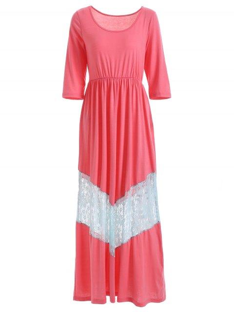 Vestido largo con cuello de la cucharada - Rosa 2XL Mobile