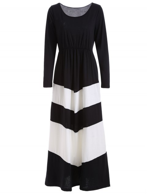 hot Color Block Long Sleeve Maxi Dress - WHITE AND BLACK L Mobile