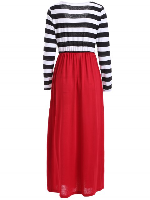 sale Striped Maxi Splice Dress - BLACK AND WHITE AND RED XL Mobile