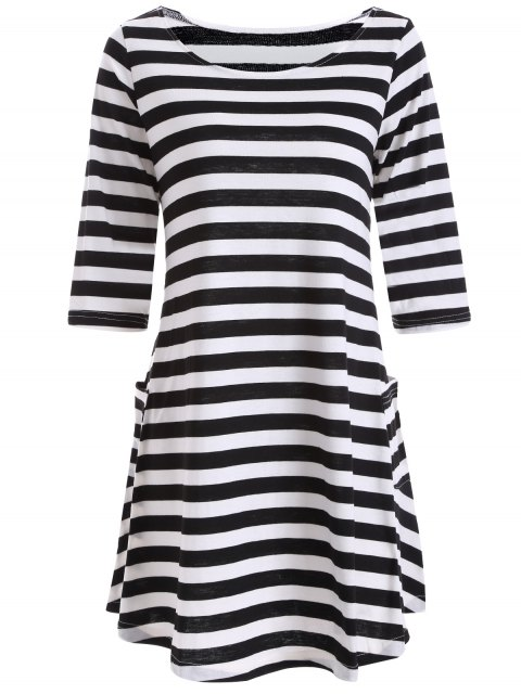 lady A Line Striped Dress With Pocktes - WHITE AND BLACK S Mobile