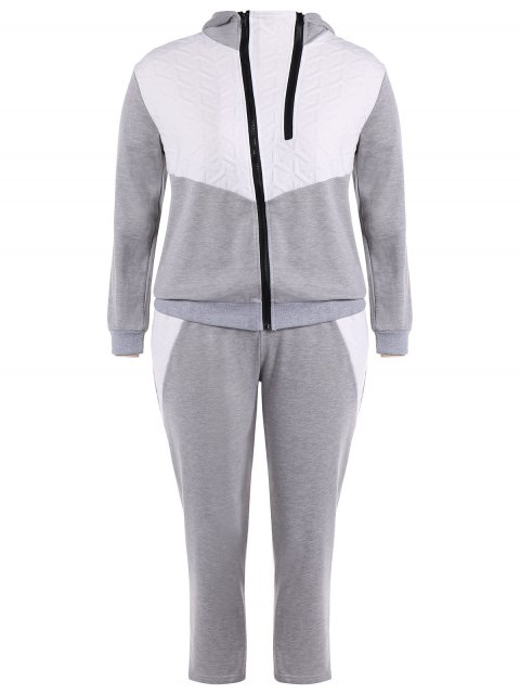 shops Color Block  Zip Up Hoodie With Pants - GRAY 3XL Mobile