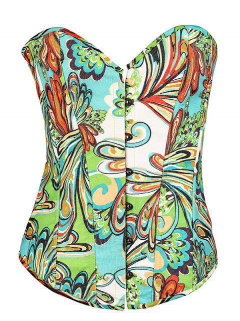latest Lace Up Butterfly Printed Corset - GREEN S Mobile