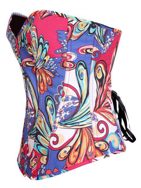 fashion Lace Up Butterfly Printed Corset - BLUE XL Mobile