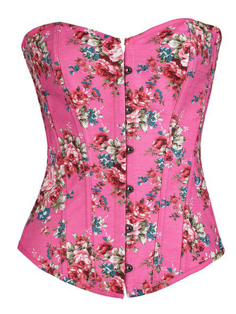 ladies Flower Print Lace Up Corset - ROSE RED S Mobile