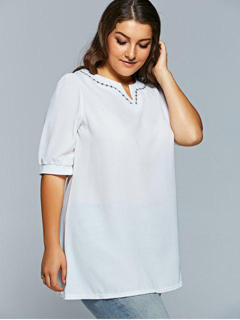 ladies V Neck Half Sleeve Plus Size Top - WHITE XL Mobile
