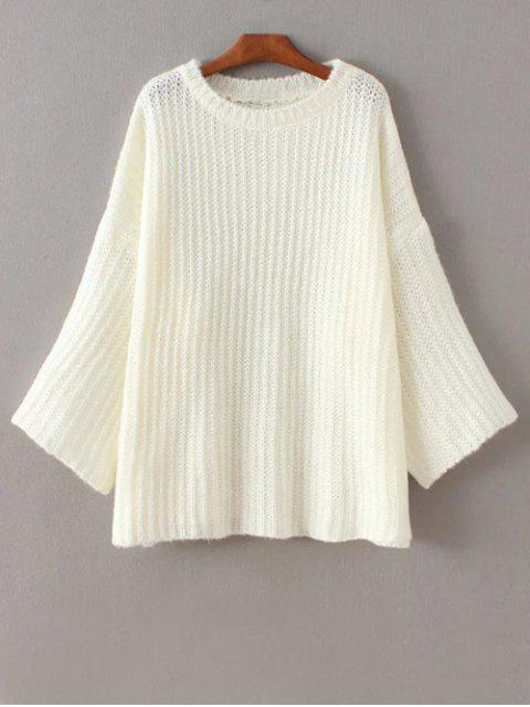 sale Casual Flare Sleeve Sweater - WHITE ONE SIZE Mobile
