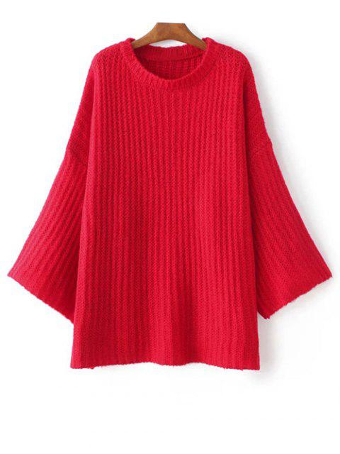Pull over casual à manches évasées - Rouge TAILLE MOYENNE Mobile