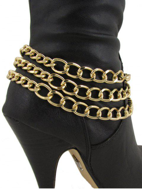 fancy Chain Design Wrap Heels Boot Anklet -   Mobile