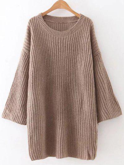 Loose Sweater Mini Dress - Brown