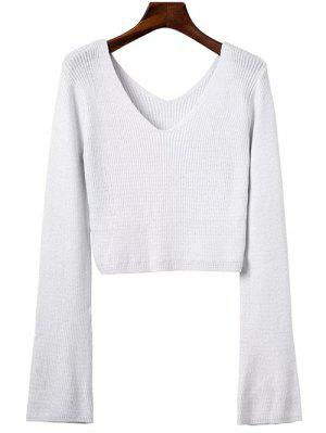 Flared Sleeve Cropped Sweater - White