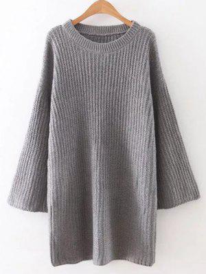 Suelta Mini Vestido Del Suéter - Gris