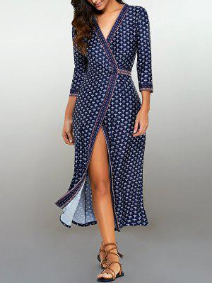 Maxi Vestido Envuelto Con Estampado De Flores Minúsculos - Azul Purpúreo M