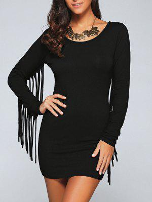 Vestido Ceñido Con Fleco Largo - Negro S