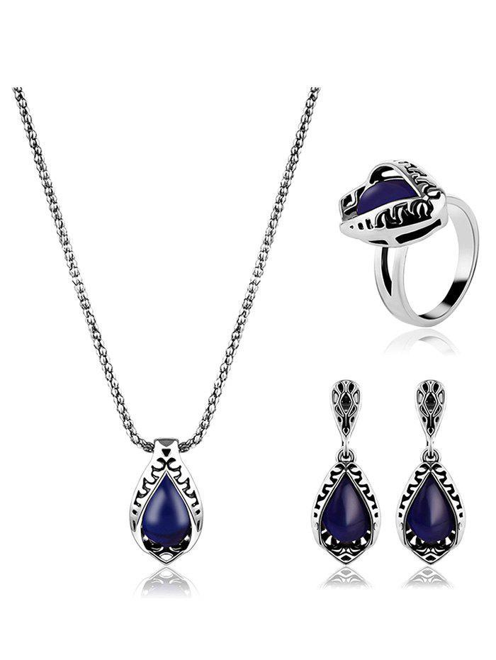 Gemstone artificielle Teardrop embarqué Ensemble de bijoux