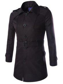 تصميم ياقة دائرية مطوية يطيل طول الفستان - أسود M