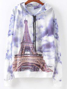 Front Pocket  Eiffel Tower Print Hoodie - M