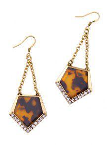 Buy Vintage Resin Rhinestone Geometric Earrings - GOLDEN