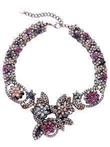 Buy Alloy Rhinestone Leaf Flower Necklace - SILVER