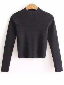 Buy Mock Neck Cropped Pullover Sweater - BLACK ONE SIZE